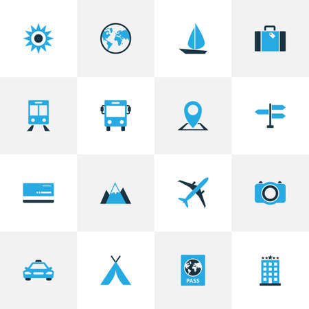 Journey Colorful Icons Set. Collection Of Map Pin, Sun, Sail And Other Elements. Also Includes Symbols Such As Identification, Motel, Landscape.