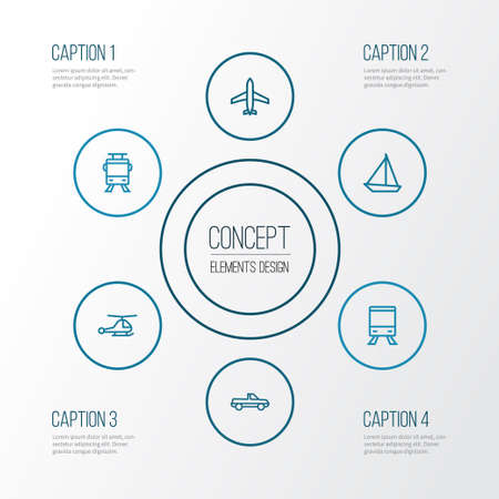 Transport Outline Icons Set. Collection Of Helicopter, Pickup, Train And Other Elements Illustration