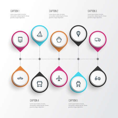 Transportation outline icons set.