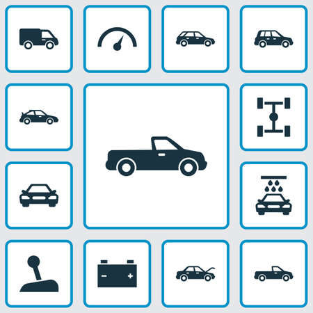 Automobile Icons Set. Collection Of Crossover, Carriage, Truck And Other Elements 向量圖像