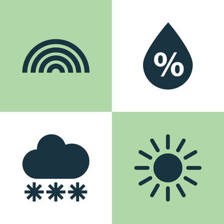 ray of light: Climate Icons Set. Collection Of Sun, Moisture, Colors And Other Elements