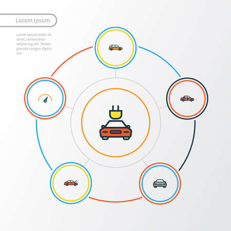 Car Colorful Outline Icons Set. Collection Of Car, Machine, Bonnet And Other Elements Illustration