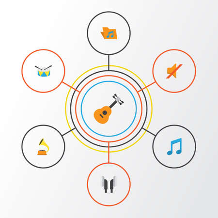 Multimedia Flat Icons Set. Collection Of Quiet, Acoustic, Band Elements. Also Includes Symbols Such As Percussion, Archive, Note. Illustration