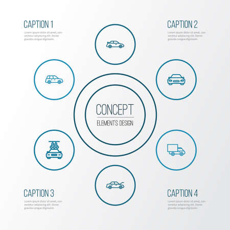 Car Outline Icons Set. Collection Of Car, Bonnet, Washing And Other Elements 向量圖像
