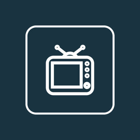 Premium Quality Isolated Television Element In Trendy Style.  Tv Outline Symbol. Illustration