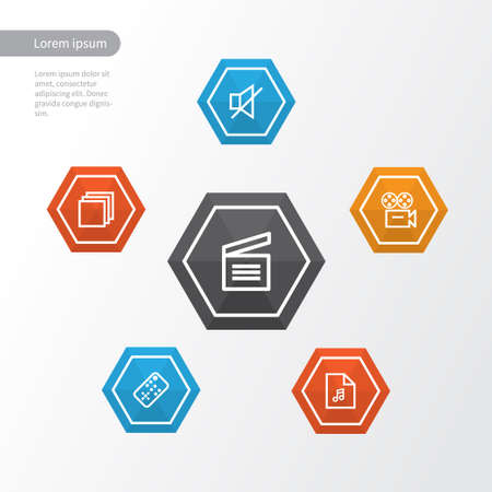Media Outline Icons Set. Collection Of Group, Playlist, Video And Other Elements Illustration