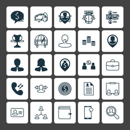 Human Icons Set. Collection Of Job Applicants, Call, Money And ...