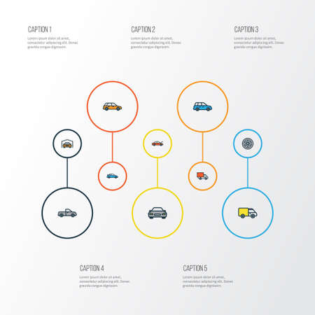 camion: Auto Colorful Outline Icons Set. Collection Of Drive, Automobile, Bonnet And Other Elements. Also Includes Symbols Such As Automobile, Bus, Van.