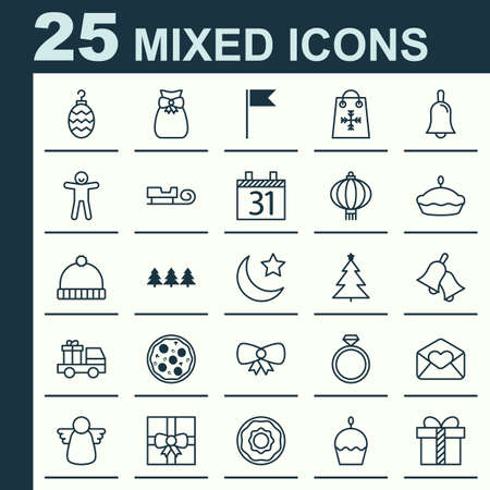 Year Icons Set. Collection Of Lorry Birthday, Knitted Cap, Birthday Cake And Other Elements. Also Includes Symbols Such As Date, Angel, Shopping.