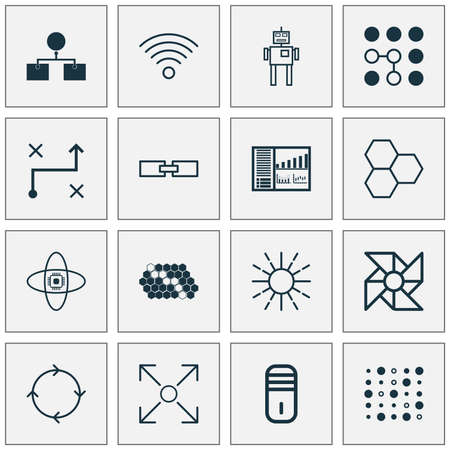 Robotics Icons Set. Collection Of Information Components, Mainframe, Computing Problems And Other Elements. Also Includes Symbols Such As Cooler, Control, Wireless.