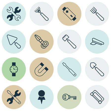 Equipment Icons Set. Collection Of Screwdriver With Wrench, Clippers, Putty And Other Elements. Also Includes Symbols Such As Repair, Clock, Screwdriver.