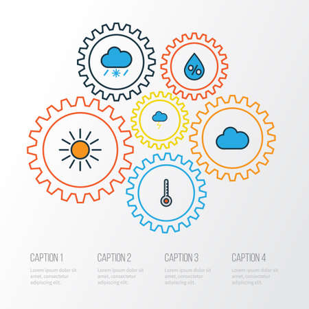 Weather Colorful Outline Icons Set. Collection Of Tornado, Cloudburst, Raindrop And Other Elements. Also Includes Symbols Such As Cloud, Sun, Degree.