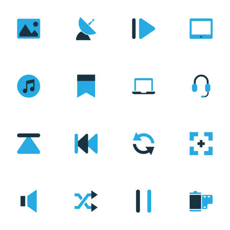 repeatability: Media Colorful Icons Set. Collection Of Rewind, Headset, Silence And Other Elements. Also Includes Symbols Such As Bookmark, Randomize, Shuffle.