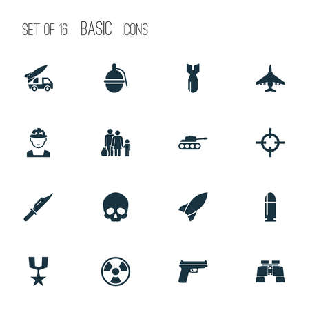 bombshell: Combat Icons Set. Collection Of Dangerous, Ordnance, Missile And Other Elements