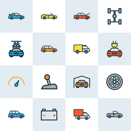 Auto Colorful Outline Icons Set. Collection Of Washing, Cabriolet, Drive And Other Elements. Also Includes Symbols Such As Tesla, Suv, Electric.