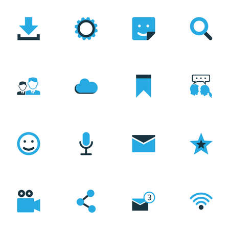 Internet Colorful Icons Set. Collection Of Friends, Download, Bookmark And Other Elements 일러스트