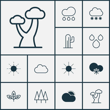 Landscape Icons Set. Collection Of Snowstorm, Sun, Cold Climate And Other Elements. Also Includes Symbols Such As Plant, Oak, Cloud. Illustration