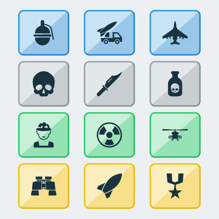 bombshell: Warfare Icons Set. Collection Of Cranium, Order, Aircraft And Other Elements. Also Includes Symbols Such As Grenade, Binoculars, Order.