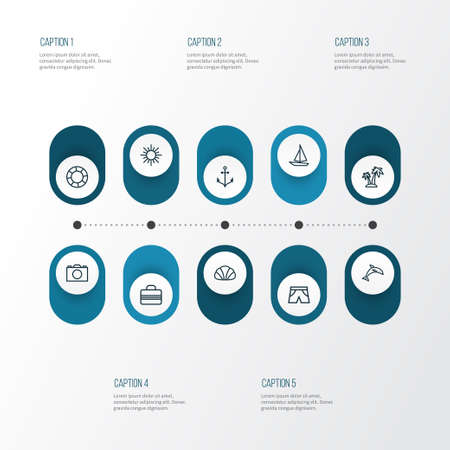 flotation: Season Outline Icons Set. Collection Of Palm, Animal, Photo And Other Elements Illustration