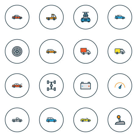Automobile Colorful Outline Icons Set. Collection Of Sedan, Car, Bonnet And Other Elements 向量圖像