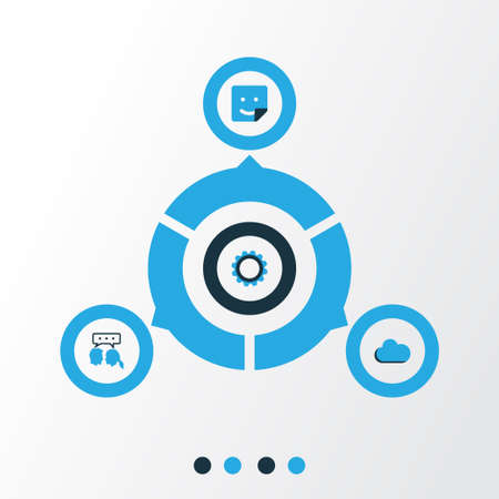 Social Colorful Icons Set. Collection Of Cogwheel, Sticker, Cloud And Other Elements.