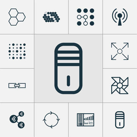 Robotics Icons Set. Collection Of Computing Problems, Radio Waves, Variable Architecture And Other Elements
