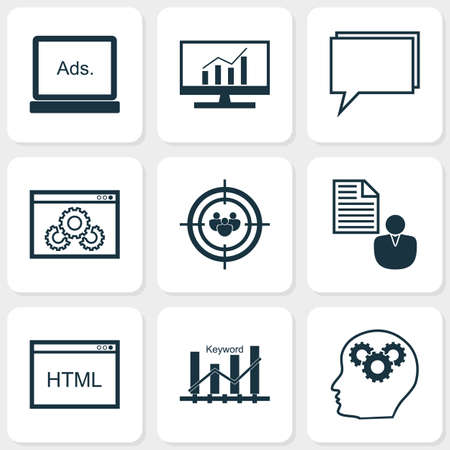 monitor: SEO Icons Set. Collection Of Market Research, Coding, Conference And Other Elements