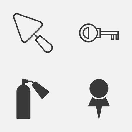 inflammable: Tools Icons Set. Collection Of Location, Putty, Password And Other Elements. Also Includes Symbols Such As Access, Firefighter, Destination.