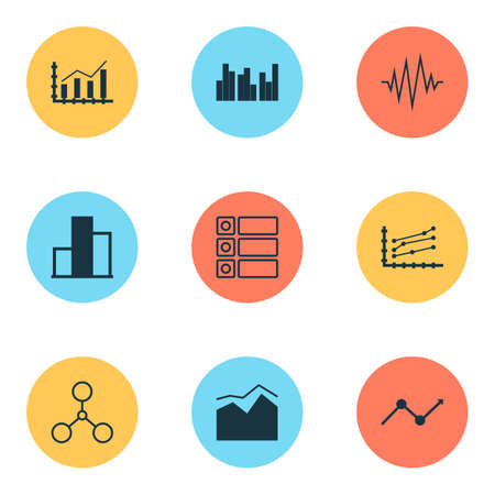Set Of Graphs, Diagrams And Statistics Icons. Premium Quality Symbol Collection. Icons Can Be Used For Web, App And UI Design. 向量圖像