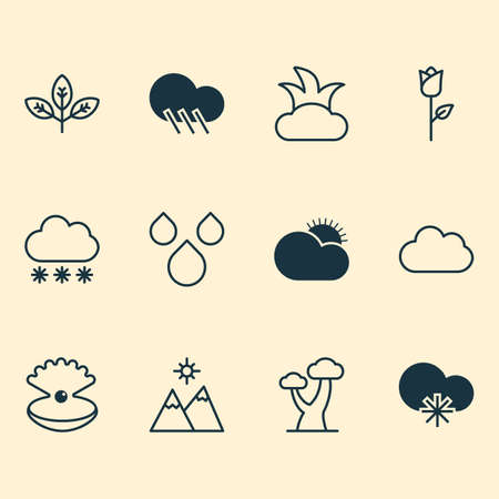 World Icons Set. Collection Of Raindrop, Snowstorm, Oak And Other Elements