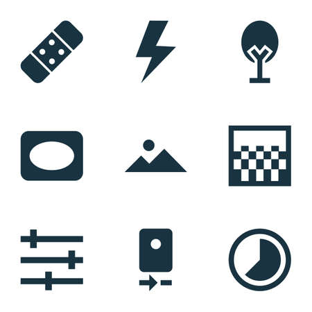 Image Icons Set. Collection Of Setting, Flash, Frame And Other Elements. Also Includes Symbols Such As Gradient, Thunder, Cycle.