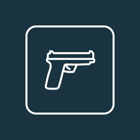 Gun Outline Symbol. Premium Quality Isolated Weapon  Element In Trendy Style.