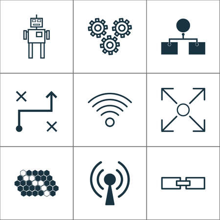 Robotics Icons Set. Collection Of Solution, Branching Program, Radio Waves And Other Elements. Also Includes Symbols Such As Network, Wi-Fi, Arrow.