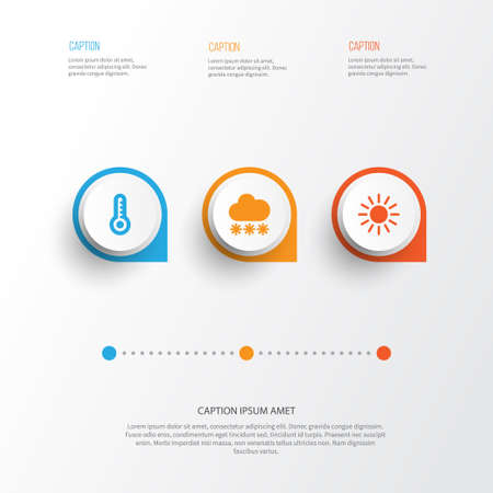 Weather Icons Set. Collection Of Snowy, Sun, Temperature And Other Elements. Also Includes Symbols Such As Thermometer, Snow, Snowy.