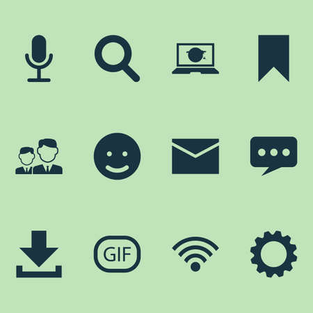 Media Icons Set. Collection Of Gear, Magnifier, Smile And Other Elements. Also Includes Symbols Such As Sticker, Microphone, Mates.