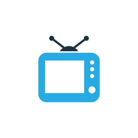 Tv Colorful Icon Symbol. Premium Quality Isolated Television Element In Trendy Style. Illustration