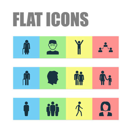 Human Icons Set. Collection Of Male, Grandpa, Family Elements. Also Includes Symbols Such As Male, Group, Head.