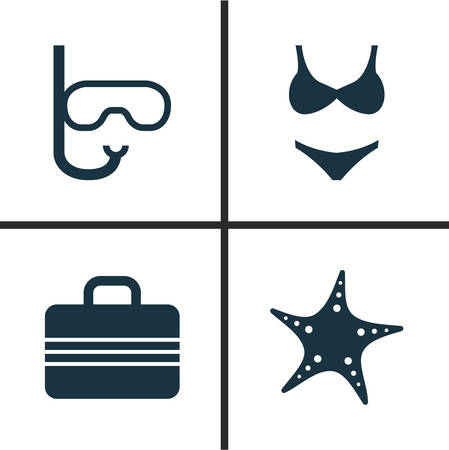 Summer Icons Set. Collection Of Bikini, Goggles, Baggage And Other Elements. Also Includes Symbols Such As Fish, Valise, Suitcase.