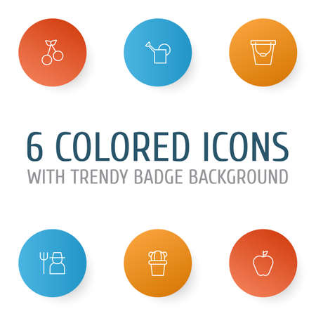 Garden Icons Set. Collection Of Sweet Berry, Pail, Jonagold And Other Elements