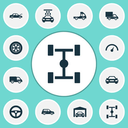 Automobile Icons Set. Collection Of Truck, Drive Control,  And Other Elements 向量圖像