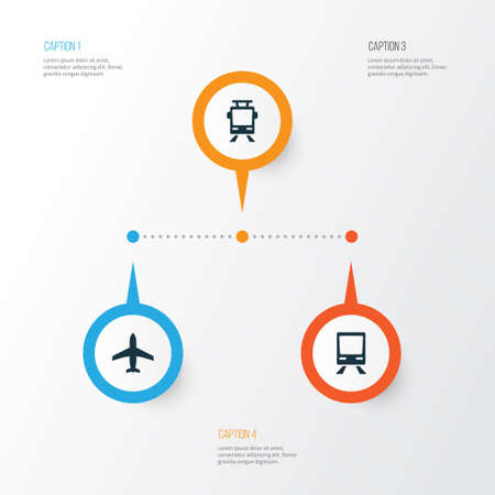 Transportation Icons Set. Collection Of Streetcar, Aircraft, Railway And Other Elements. Also Includes Symbols Such As Airplane, Tram, Aircraft.