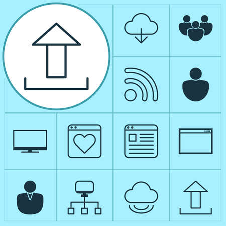 Internet Icons Set. Collection Of Storage, Upload, Local Connection And Other Elements Ilustração Vetorial