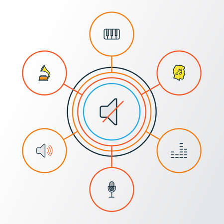Multimedia Colorful Outline Icons Set. Collection Of Keys, Lover, Mute And Other Elements. Also Includes Symbols Such As Level, Vinyl, Amplifier. Illustration