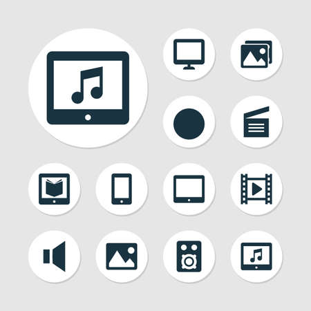 Multimedia Icons Set. Collection Of E-Reader, Picture, Screen And Other Elements Иллюстрация