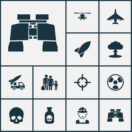 bane: Army Icons Set. Collection Of Ordnance, Glass, Aircraft And Other Elements. Also Includes Symbols Such As Military, Bio, Skull.