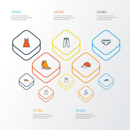 Clothes Colorful Outline Icons Set. Illustration