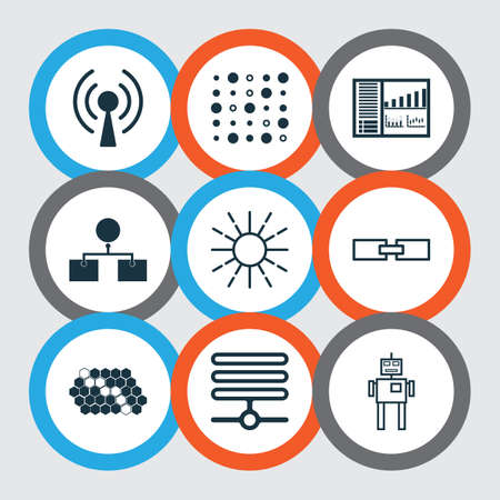 Learning Icons Set. Collection Of Information Base, Controlling Board, Hive Pattern And Other Elements.