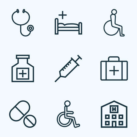 lying in bed: Drug Outline Icons Set. Collection Of Injection, Building, Tablets And Other Elements. Also Includes Symbols Such As Handicapped, Building, Stethoscope.