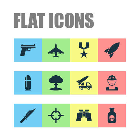 Combat Icons Set. Collection Of Order, Danger, Weapons And Other Elements. Also Includes Symbols Such As Soldier, Ordnance, Bullet.