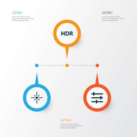 Picture Icons Set. Collection Of Sparkle, Setting, High Dynamic Range And Other Elements. Also Includes Symbols Such As Tune, Flare, Hdr. Illustration